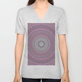 Bohemian Mauve Grey Mandala Unisex V-Neck