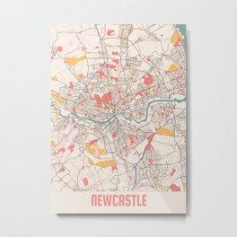 Newcastle - United Kingdom Chalk City Map Metal Print