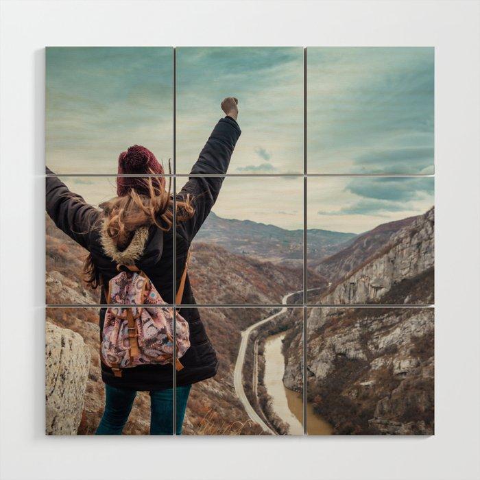Tourist on the peak of high rocks. Big canyon on Balkan peninsula Wood Wall Art
