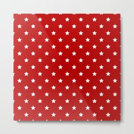 Red Background With White Stars Pattern Metal Print