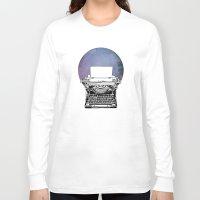 typewriter Long Sleeve T-shirts featuring Typewriter by Rebecca Joy - Joy Art and Design
