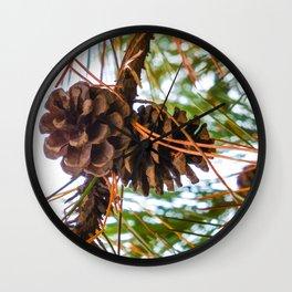 Pine Cone on a Pine Tree Wall Clock