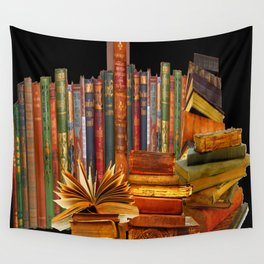 SHABBY CHIC ANTIQUE LIBRARY BOOKS, LEDGERS &  BOOKS Wall Tapestry
