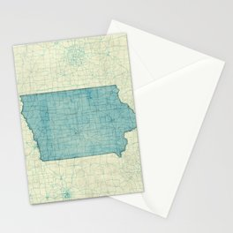Iowa State Map Blue Vintage Stationery Cards