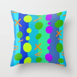 Party Time / Blue Throw Pillow