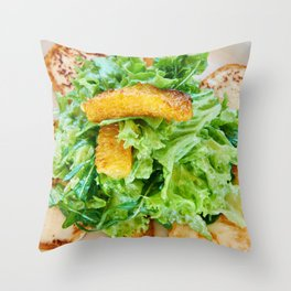 Salad arugula leaves with cheese and orange slices Throw Pillow