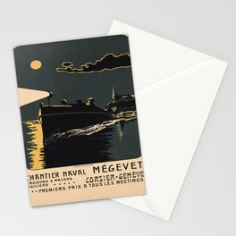 Advertisement Chantier Naval Megevet voyage poster Stationery Cards
