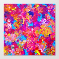 FLORAL FANTASY Bold Abstract Flowers Acrylic Textural Painting Neon Pink Turquoise Feminine Art Canvas Print