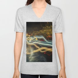 City Gold Light Fantastic Painted Abstract Unisex V-Neck