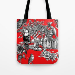 Collage rouge 5 Tote Bag
