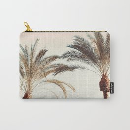 Modern California Vibes pink sky blue seascape tropical palm tree beach photography Carry-All Pouch