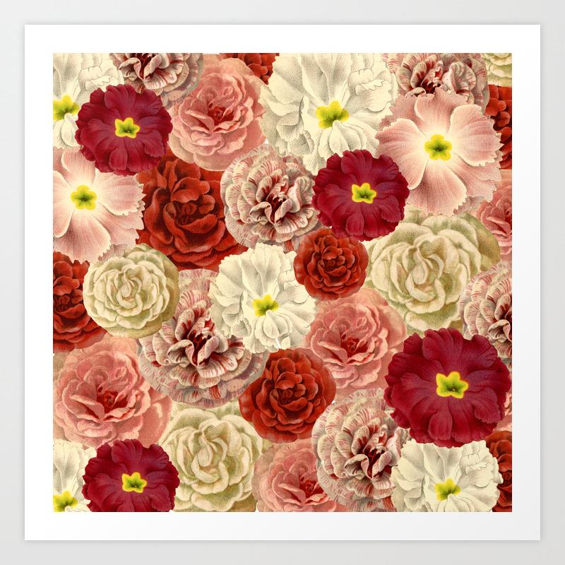 Vintage Floral Print Art Print By Anniemariedesigns Society6