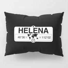 Helena Montana Map GPS Coordinates Artwork with Compass Pillow Sham