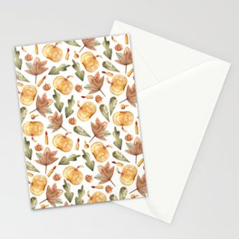 Pumpkins, candles, maple leaves, oak leaves Stationery Cards