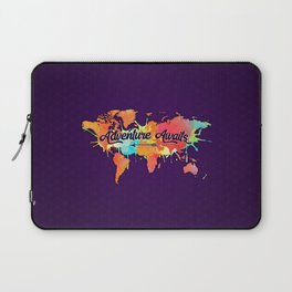 Adventure Awaits Quote Vivid Watercolor World Map Laptop Sleeve