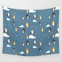 penguins Wall Tapestries featuring Penguins by S. Vaeth