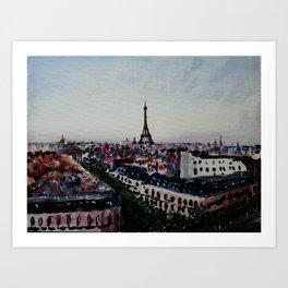 Paris Eiffel Tower Acrylics On Canvas Board Art Print