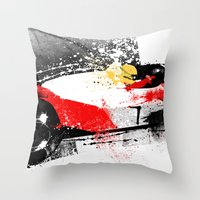 senna Throw Pillows featuring AYRTON SENNA MP4-4 by Michele Leonello