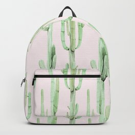 Green and Coral Pink Cactus Stack Pattern Backpack