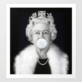 QUEEN ELIZABETH II BLOWING WHITE BUBBLE GUM Art Print