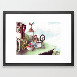 Mother Hulda - Spinning on the high road Framed Art Print