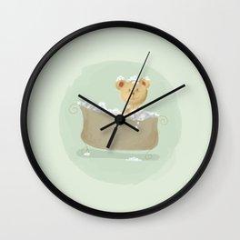 Teddy Bear in Bathtub  Wall Clock