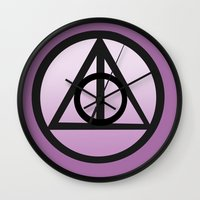 deathly hallows Wall Clocks featuring Deathly Hallows by AriesNamarie
