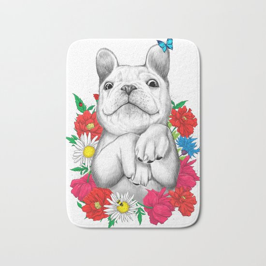 dog in flowers Bath Mat