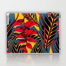 Jungle Glam Falling Leaves Blue Gold Laptop & iPad Skin