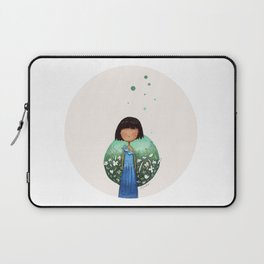 """""""Little china girl with blue dress"""" watercolor art by Alison Sadler - Laptop Sleeve"""
