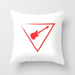 """When """"No Music No Life"""" Tee """" With An Illustration Of A Guitar Inside A Triangle T-shirt Design Red Throw Pillow"""