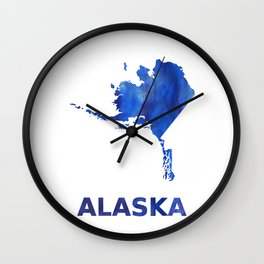 Alaska map watercolor Wall Clock