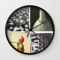 postcard Wall Clocks featuring Postcard Collage by wetravelasequals