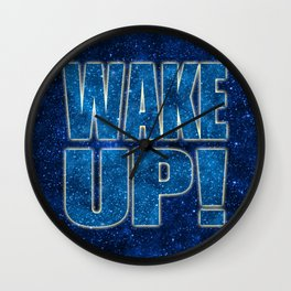 Wake Up! Starry Background Wall Clock