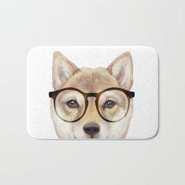 Shiba inu with glasses Dog illustration original painting print Bath Mat