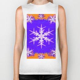 Purple Snowflake Modern Art Abstract Biker Tank