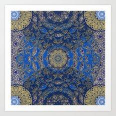 Blue Gold Lacy Mandalas Art Print