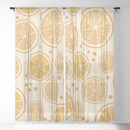 Fresh orange juice pattern, from the Orange Blossom Pattern Collection Sheer Curtain