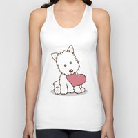westie Tank Tops featuring Westie Dog with Love Illustration by Li Kim Goh