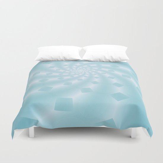 Tess Fractal in Frozen Blue Duvet Cover