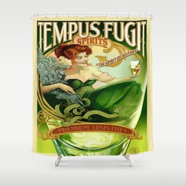 Vintage poster - Tempus Fugit Absinthe Shower Curtain