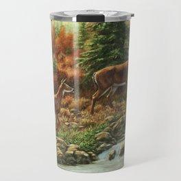 Whitetil Deer Doe & Buck by Waterfall Travel Mug