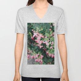 Fuchsia Hybrida Pink Flower Print Unisex V-Neck