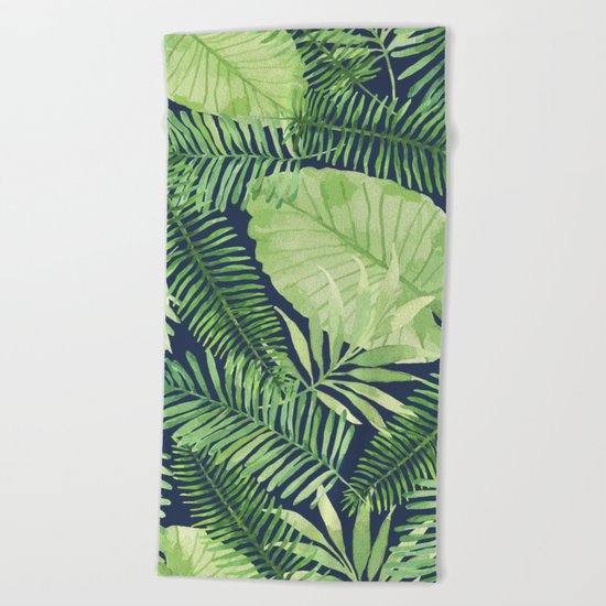 Tropical Branches on Dark Pattern 09 Beach Towel
