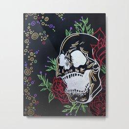 Black and Silver Skull Metal Print
