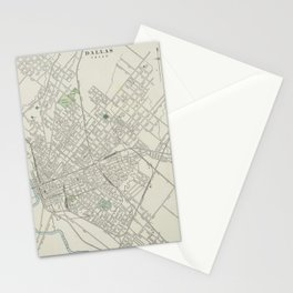 Vintage Map of Dallas Texas (1901) Stationery Cards