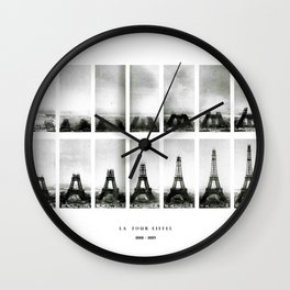 1888-1889 Eiffel Tower Full Construction Sequence Photographic Poster Wall Clock