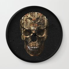 Vintage American Tattoo Skull Wood Stripes Texture Wall Clock