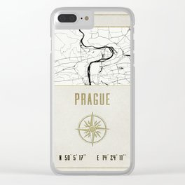 Prague - Vintage Map and Location Clear iPhone Case