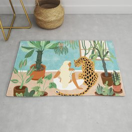 Urban Jungle Illustration, Tiger Home Decor, Woman & Modern Bohemian Wildlife Painting Rug